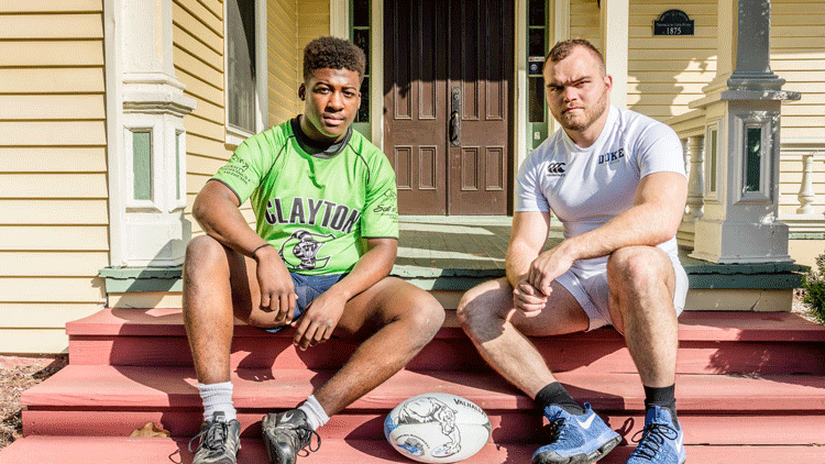Adam Hockaday with rugby teammate