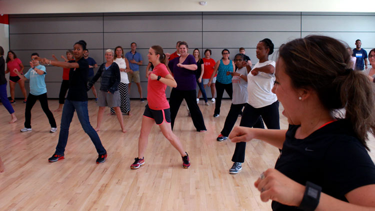 NC State Employees participating in private group fitness class
