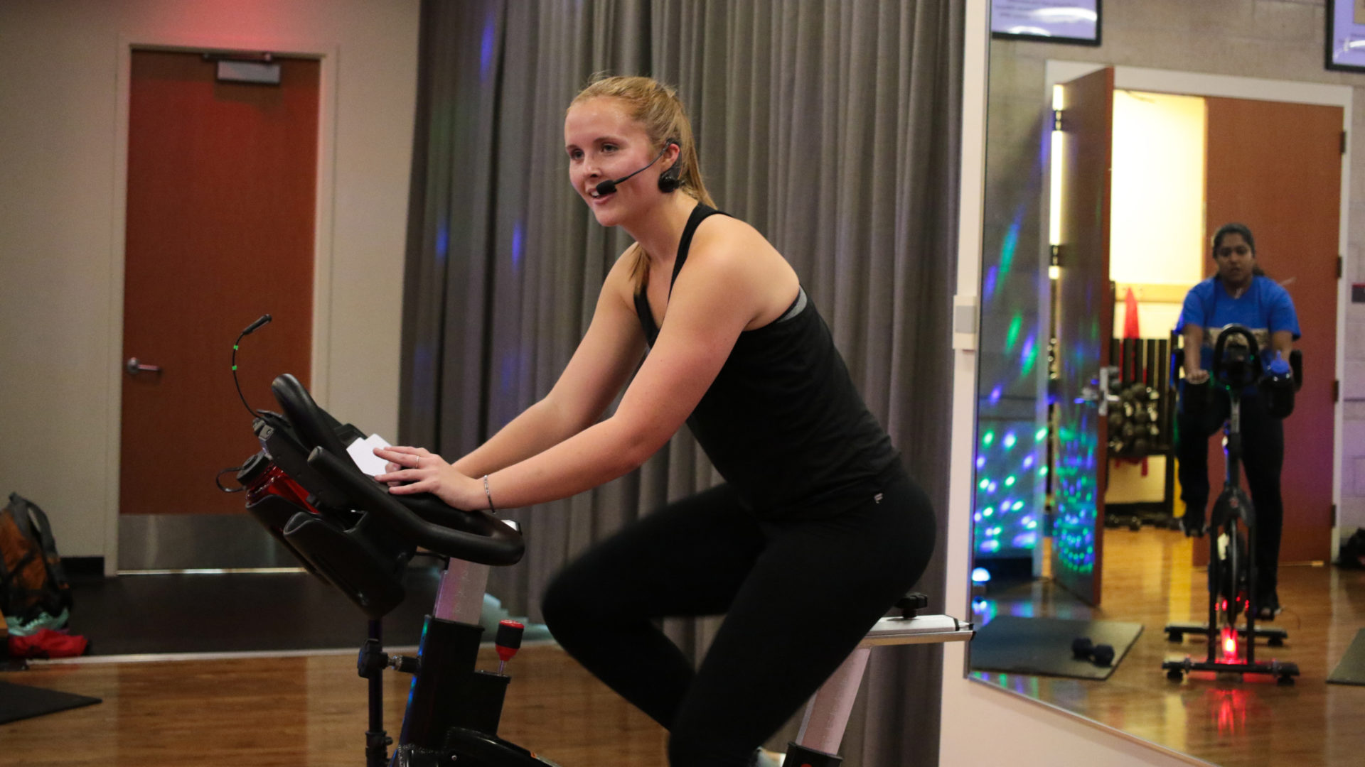 Katherine Mansfield teaching group fitness cycling