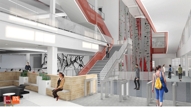 Rendering of New Climbing Wall