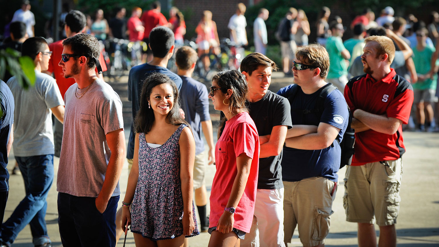 Students waiting in line