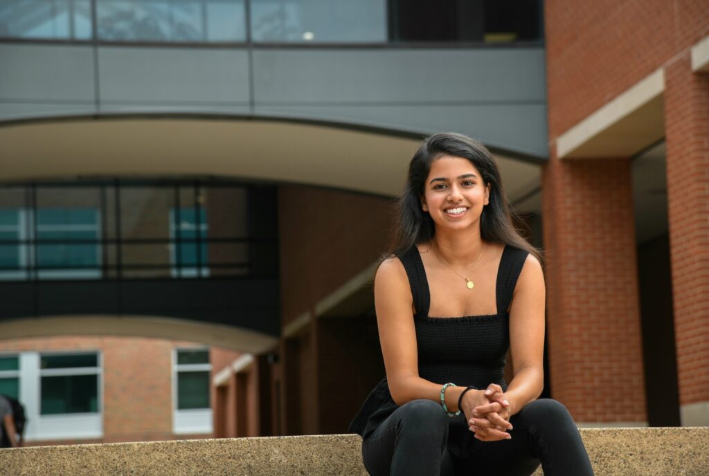 Ritika Shamdasani pictured in front of the Wilson College of Textiles building