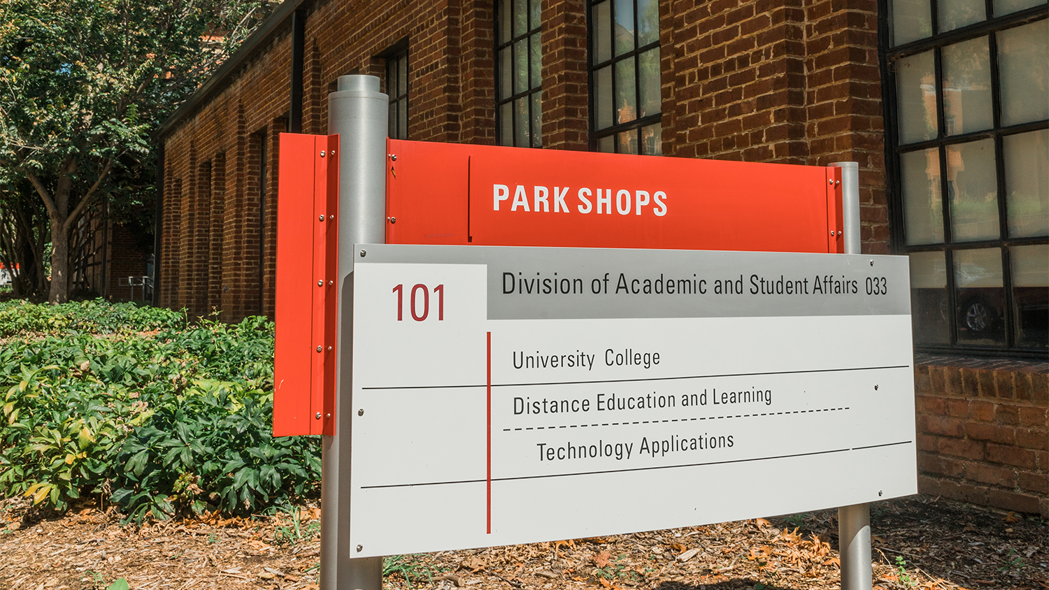 Sign for Park Shops and the Division of Academic and Student Affairs