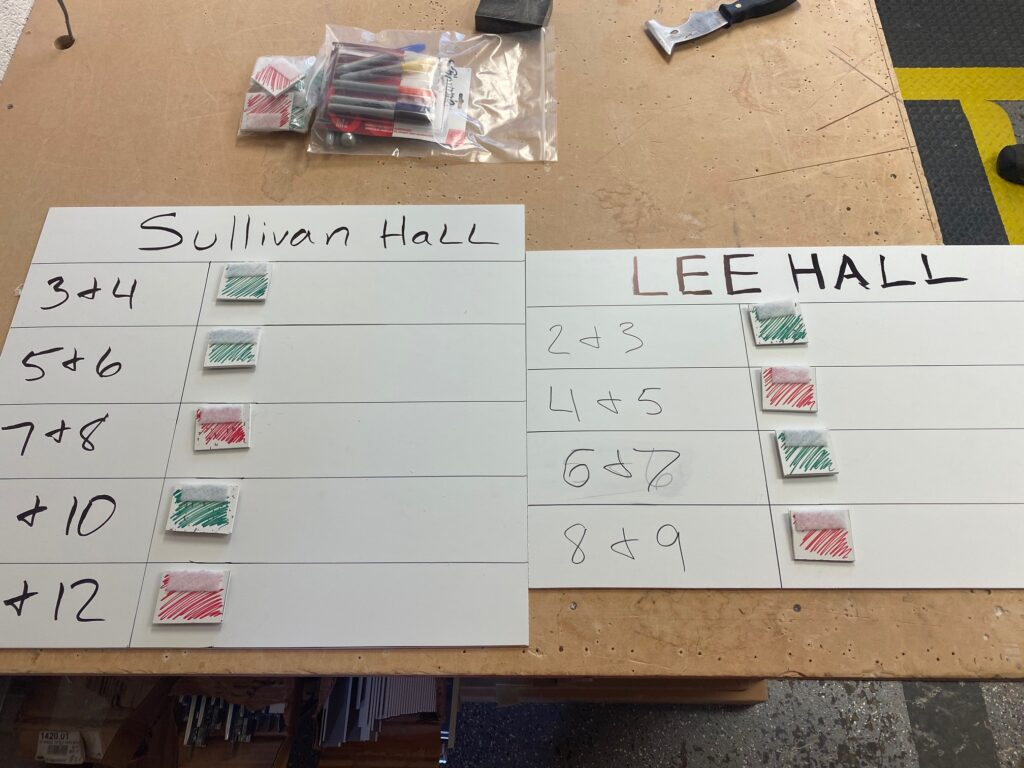 Color-coded signal cards for move-in day at Lee and Sullivan Halls