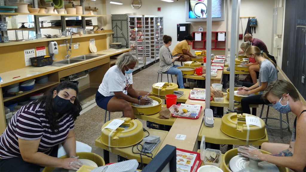 A pottery class at the Crafts Center in August