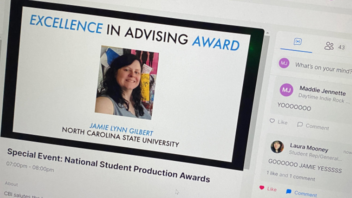 A screen shot showing Jamie Lynn Gilbert as the winner of the Excellence in Advising Award from CBI