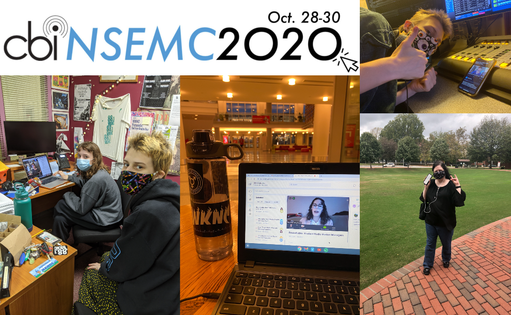Image collage including the NSEMC 2020 logo, a masked student watching a presentation on a phone, a masked adviser watching a presentation on her phone outisde during a fire alarm, a computer showing a presentation and two students in masks watching a presentation on a laptop.