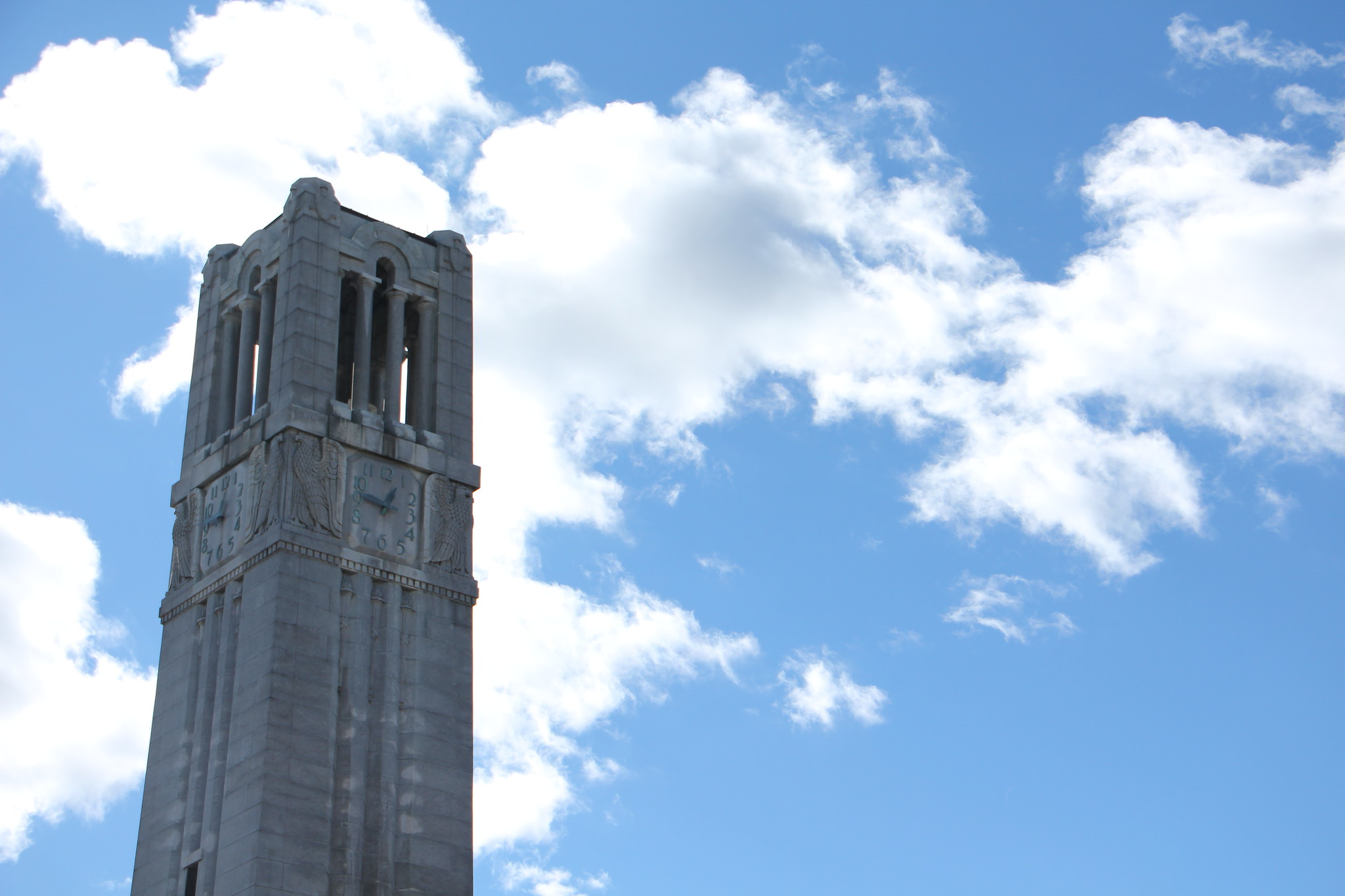 The bell tower in front of blue skies