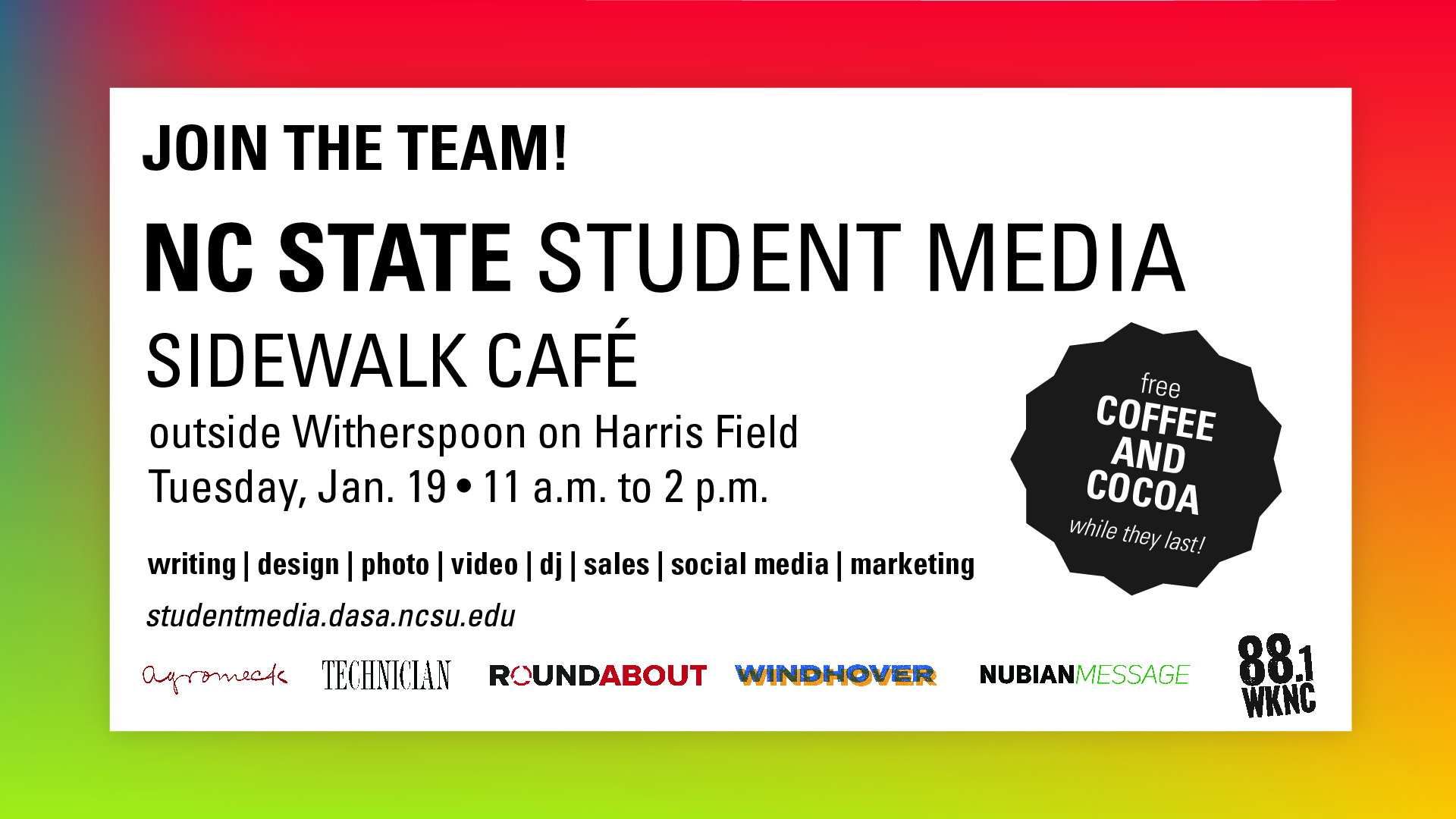 Poster for Student Media Sidewalk Cafe
