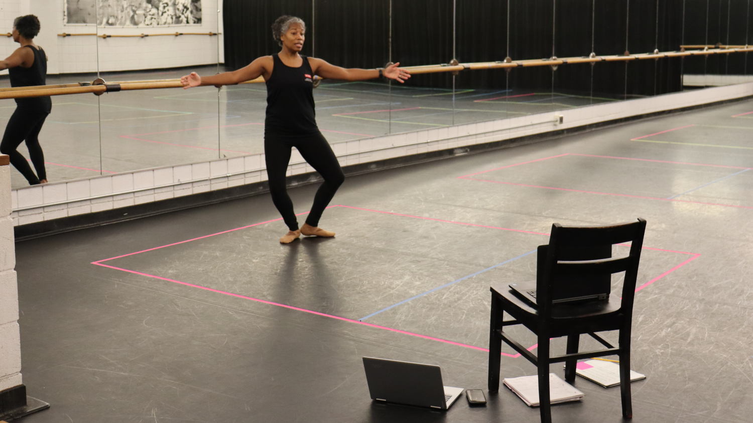 Assistant Teaching Professor Joan Nicholas-Walker teaches her HESD 264 Ballet I class remotely in Fall 2020.