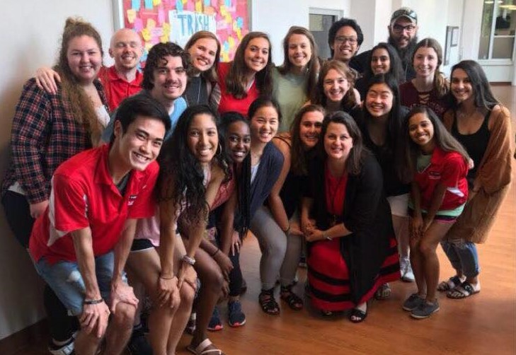 Angel Bowers pictured with NC State Mental Health Ambassadors prior to the COVID-19 pandemic