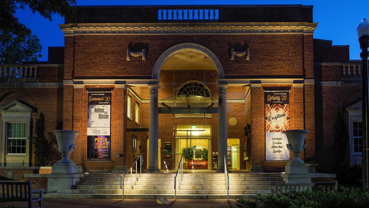 Exterior of Thompson Theatre at night