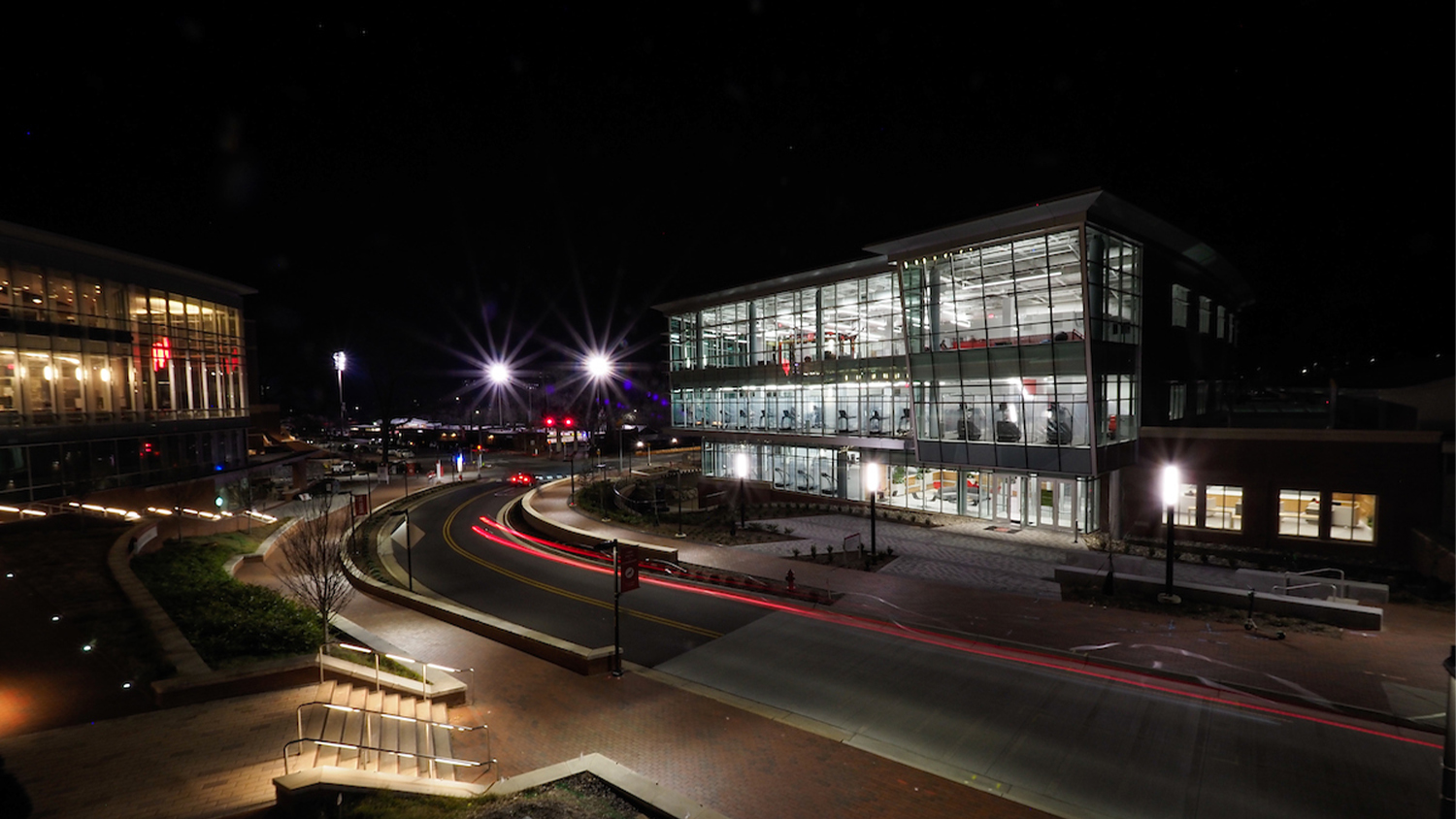 The new Wellness and Recreation Center at night