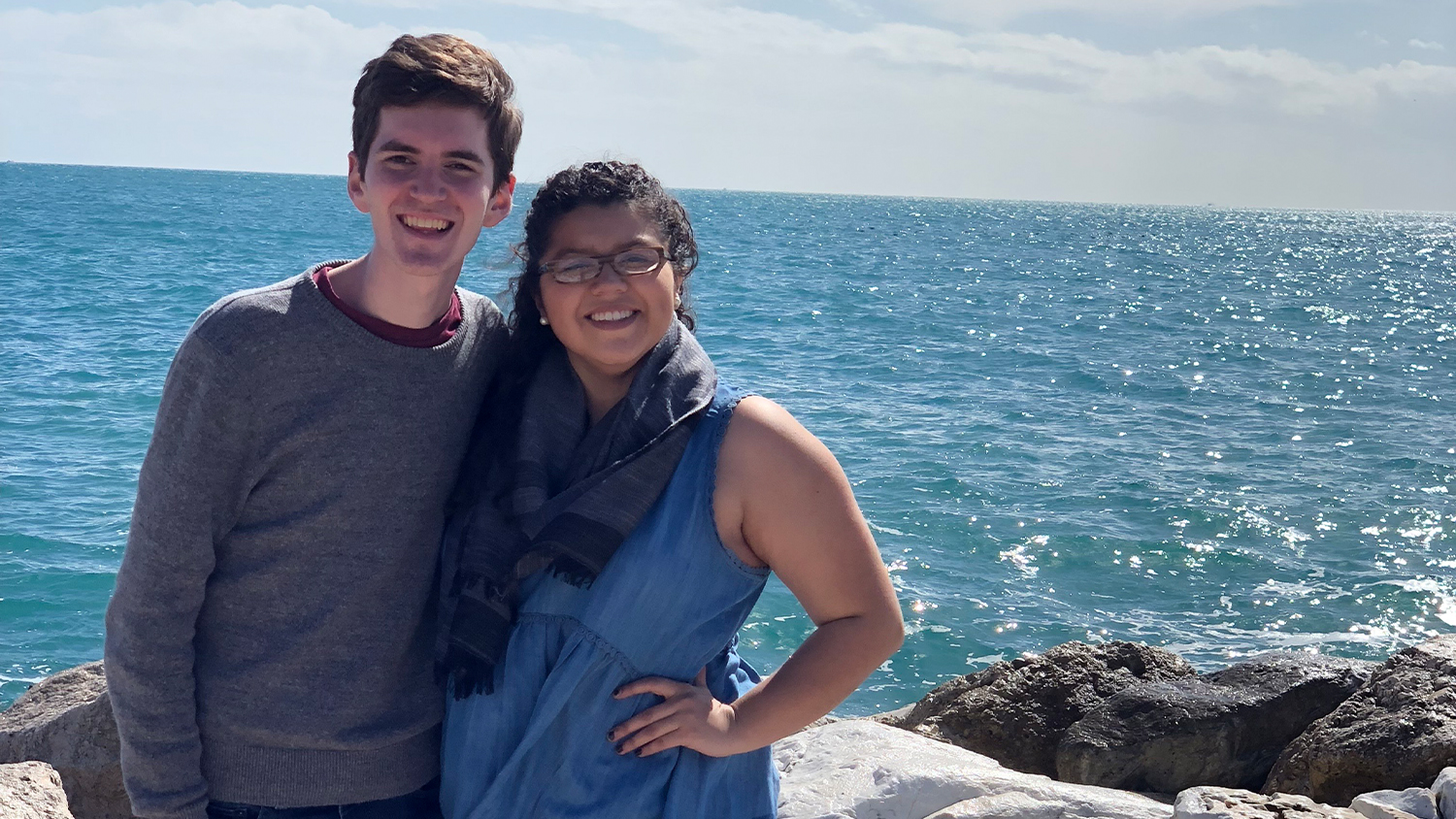 Mitchell Moravec and Jackie Gonzalez by the ocean
