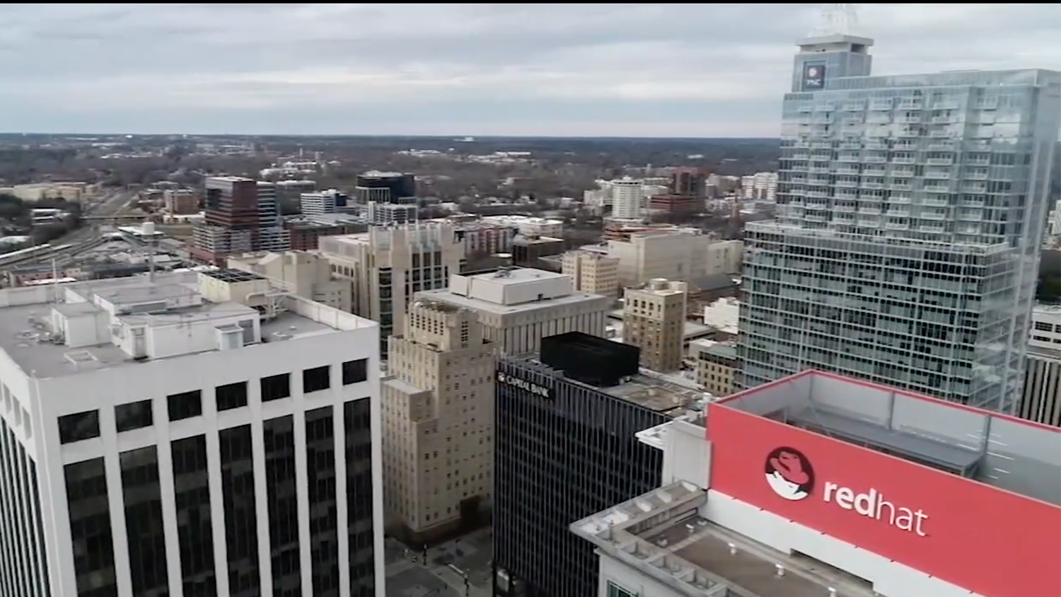 Aerial view of the downtown Raleigh Skyline