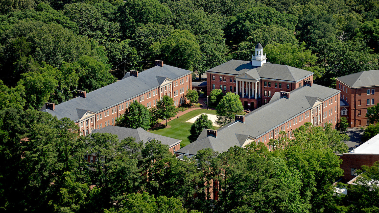 An aerial view of residence halls on campus