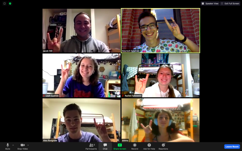 Screenshot of a Zoom call with students making Wolfie signs in six different windows