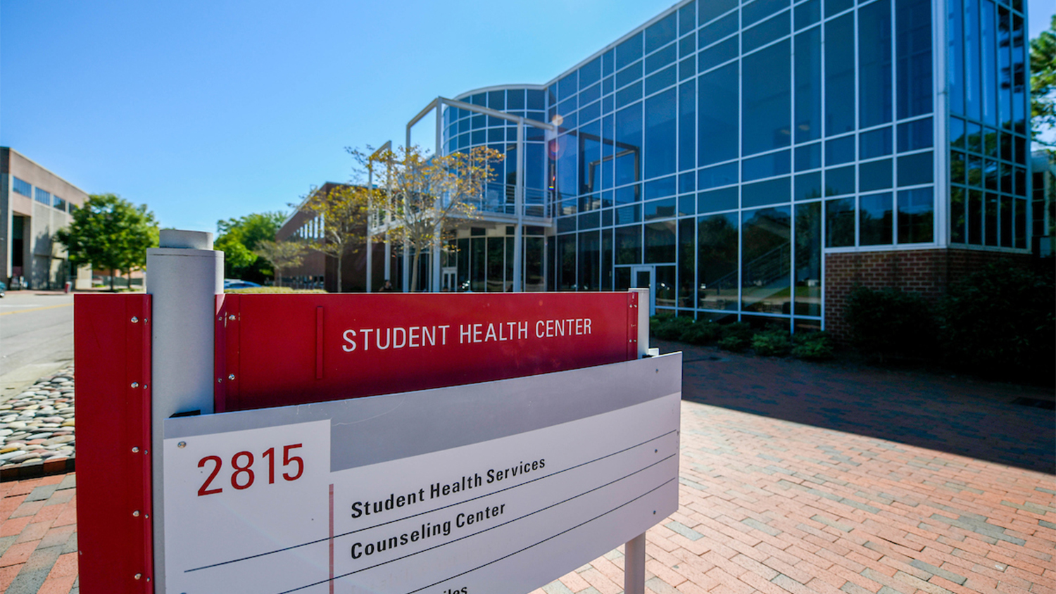 The exterior of the Student Health Center, with a sign that reads Student Health Center
