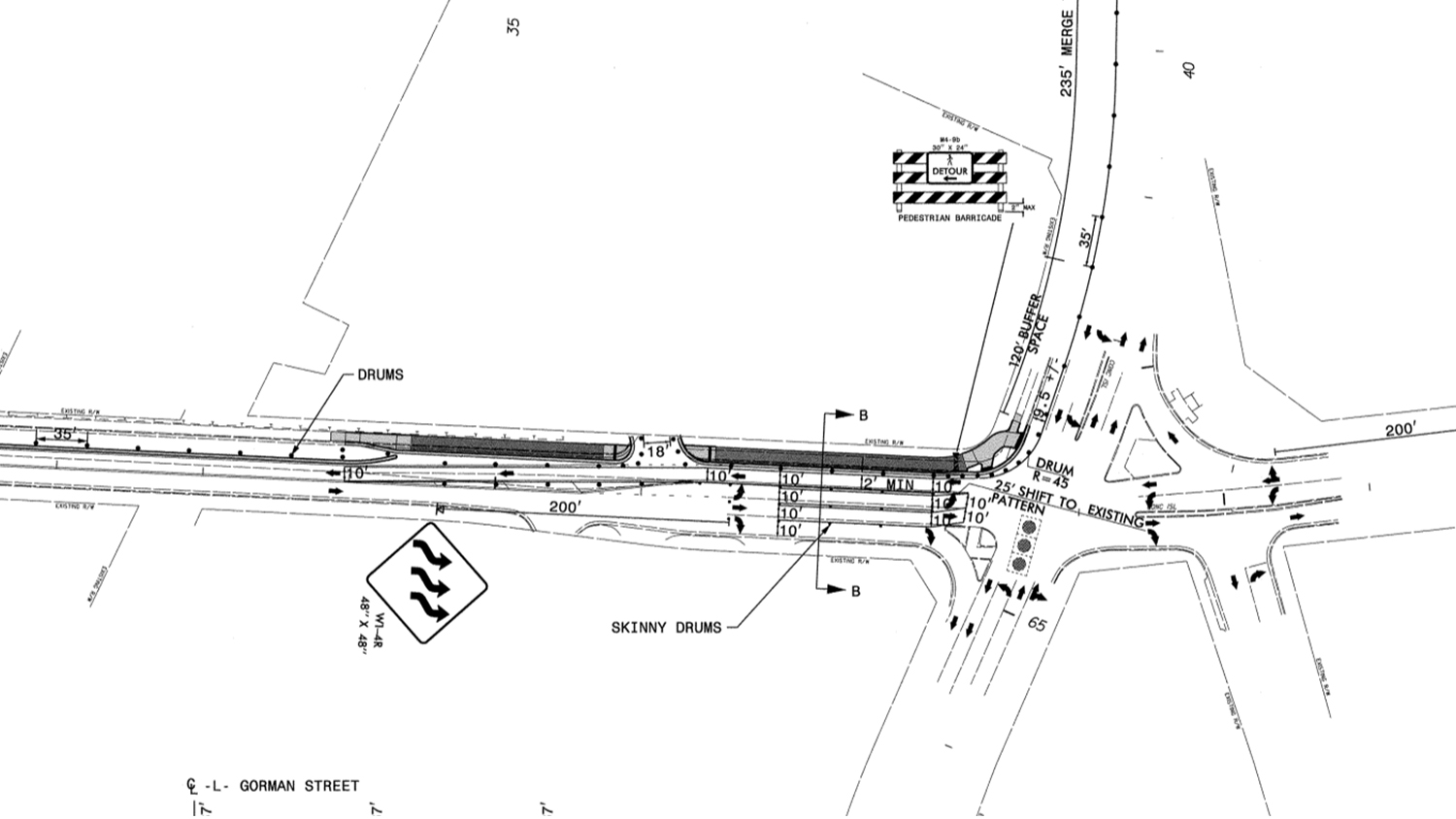 A road map showing the construction project near Gorman Street