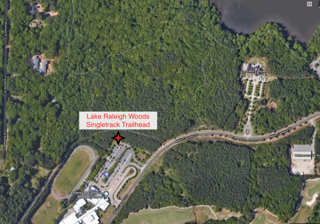 A satellite view of the area where new hiking and biking trails are being established in Lake Raleigh Woods