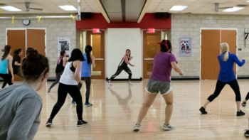 NC State students participating in a cardio dance class