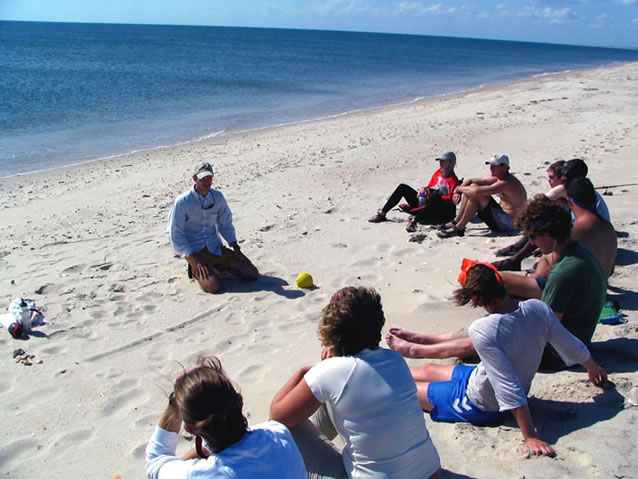 Dr Holden with students on beach
