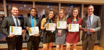 Council Leaders (L to R) Zach Hale, Eric McAllister, Hali Reese, Lexi DeFalco, Ava Ritter, and Tyler Smith with their council honors at the AFLV Central Conference.