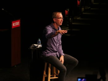 Frank Warren, PostSecret founder, speaks at Stewart Theatre in September 2018