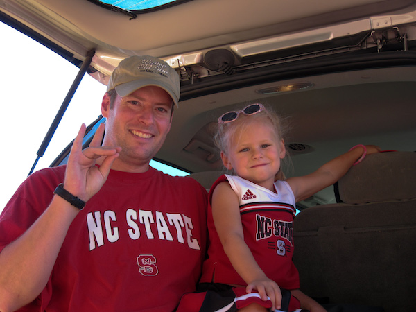 LJ Wobker with daughter in NC State attire