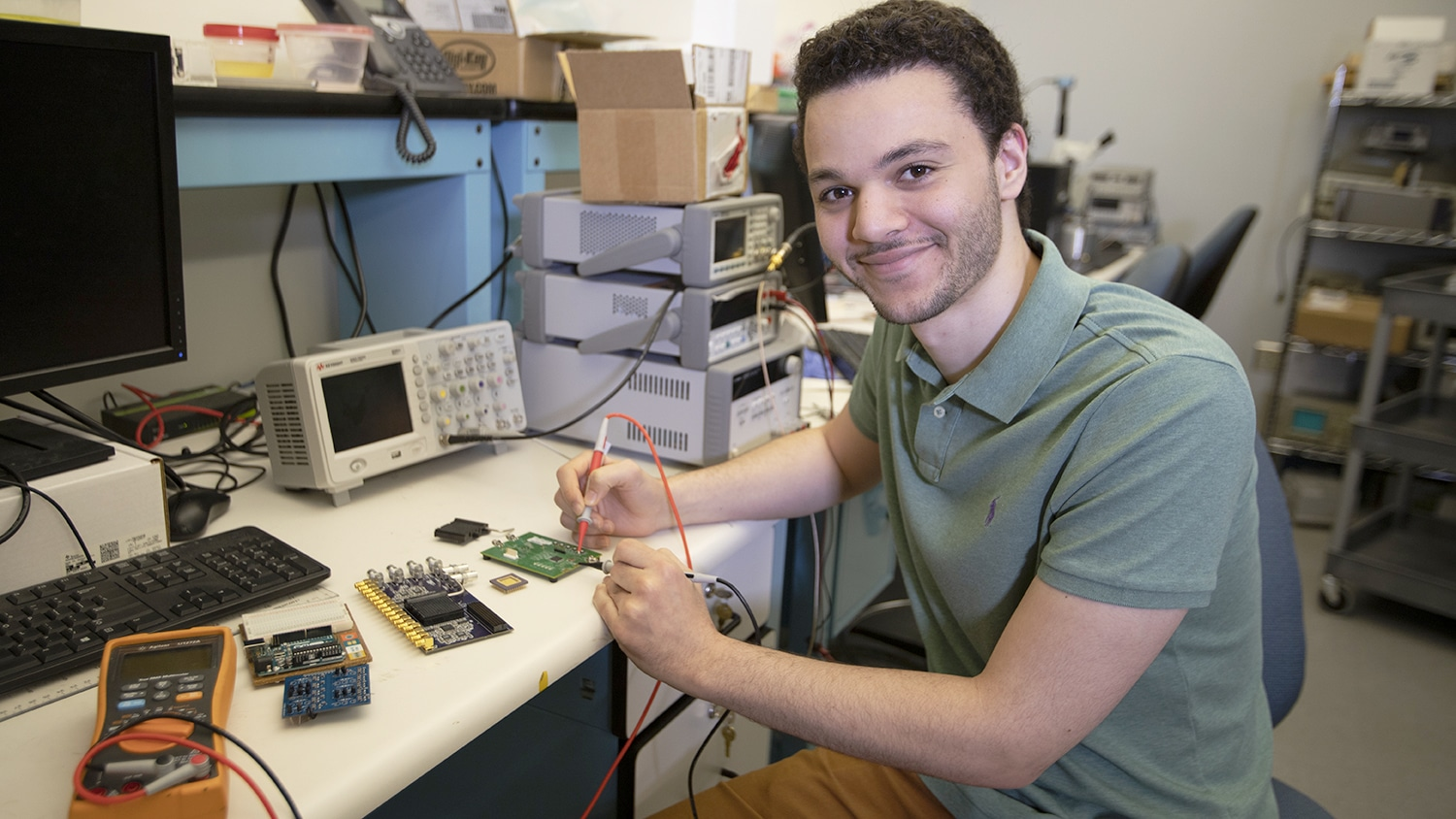 Ziad Ali working on some circuits in lab