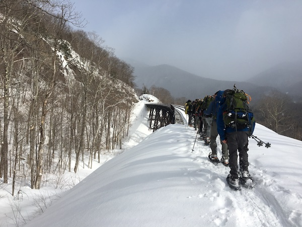 Scott Schneider leads a team of students along a pass in the White Mountains