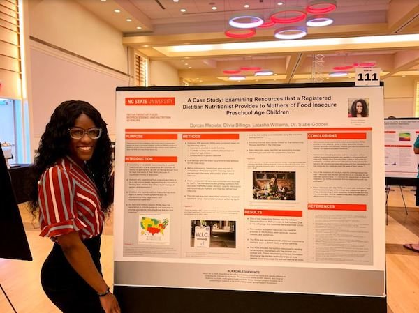 Dorcas Mabiala presents her research during a symposium