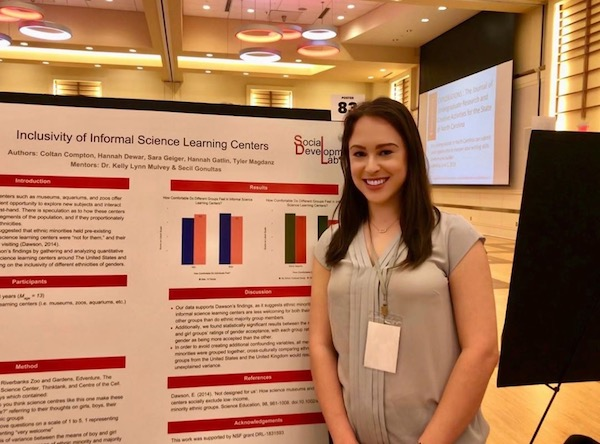 NC State student presents her research during a symposium