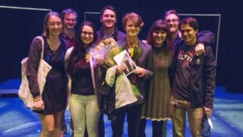 Natalie Sherwood with friends/family after opening night of A Good Little Rain.