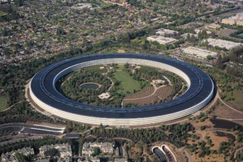Aerial shot of Apple's headquarters