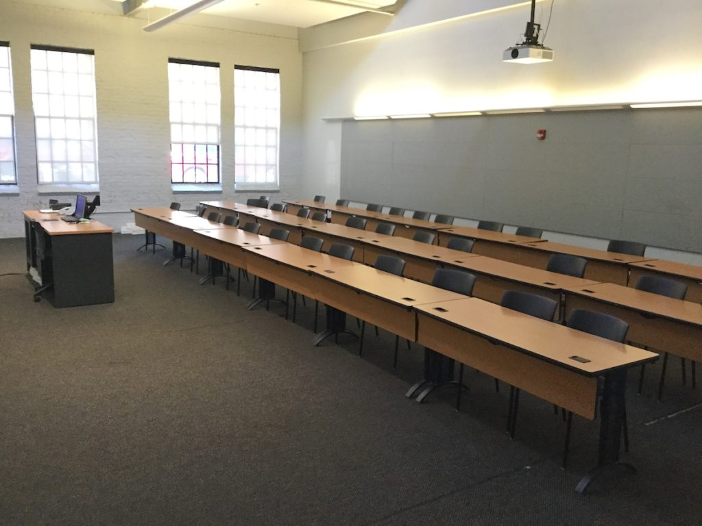 An empty lecture hall in Park Shops