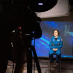 Astronaut Christina Koch gives a press conference