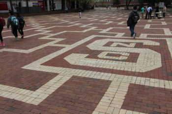 Brick NC State logo in the Brick Yard