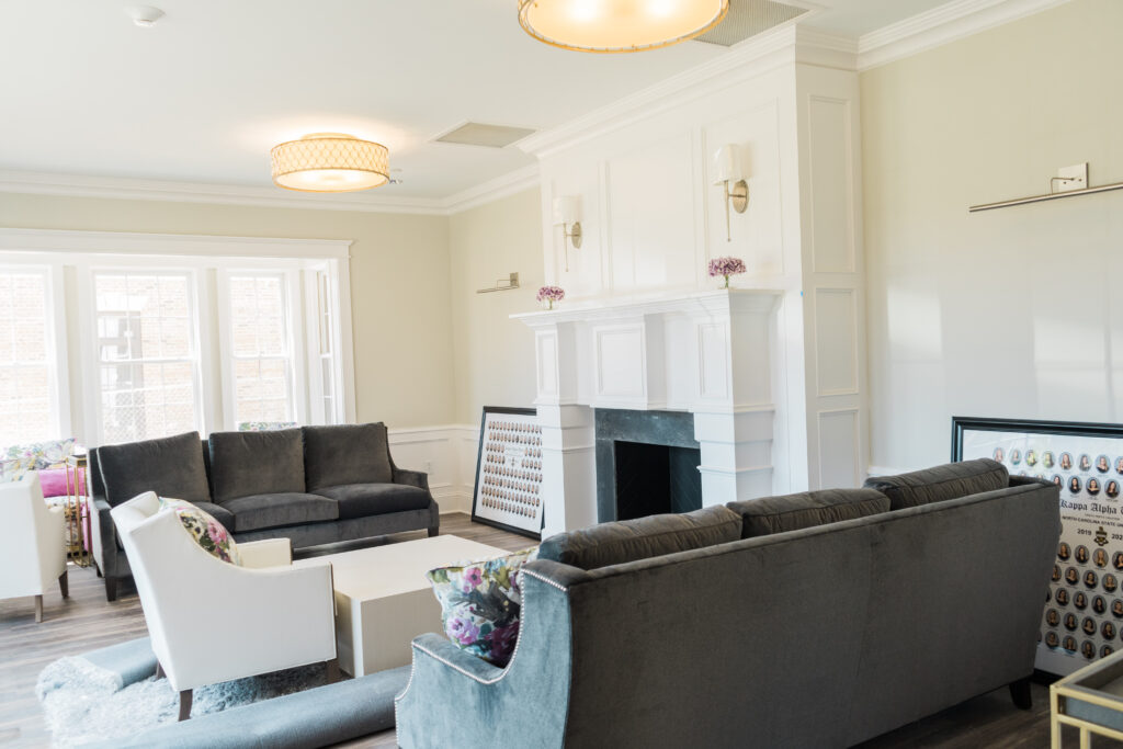 The living room for the new Kappa Alpha Theta sorority house in the Greek Village