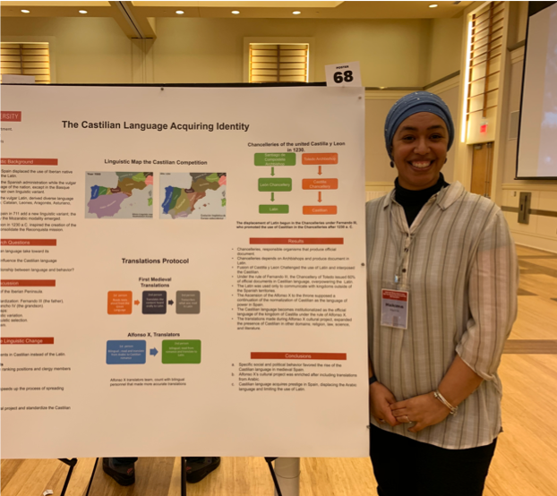 Hakima Harris presents her research at NC States Research and Creativity Symposium following her surgery.